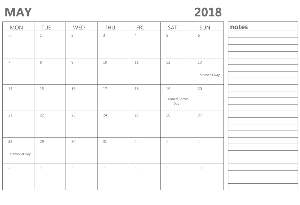 Editable May 2018 Calendar With Notes
