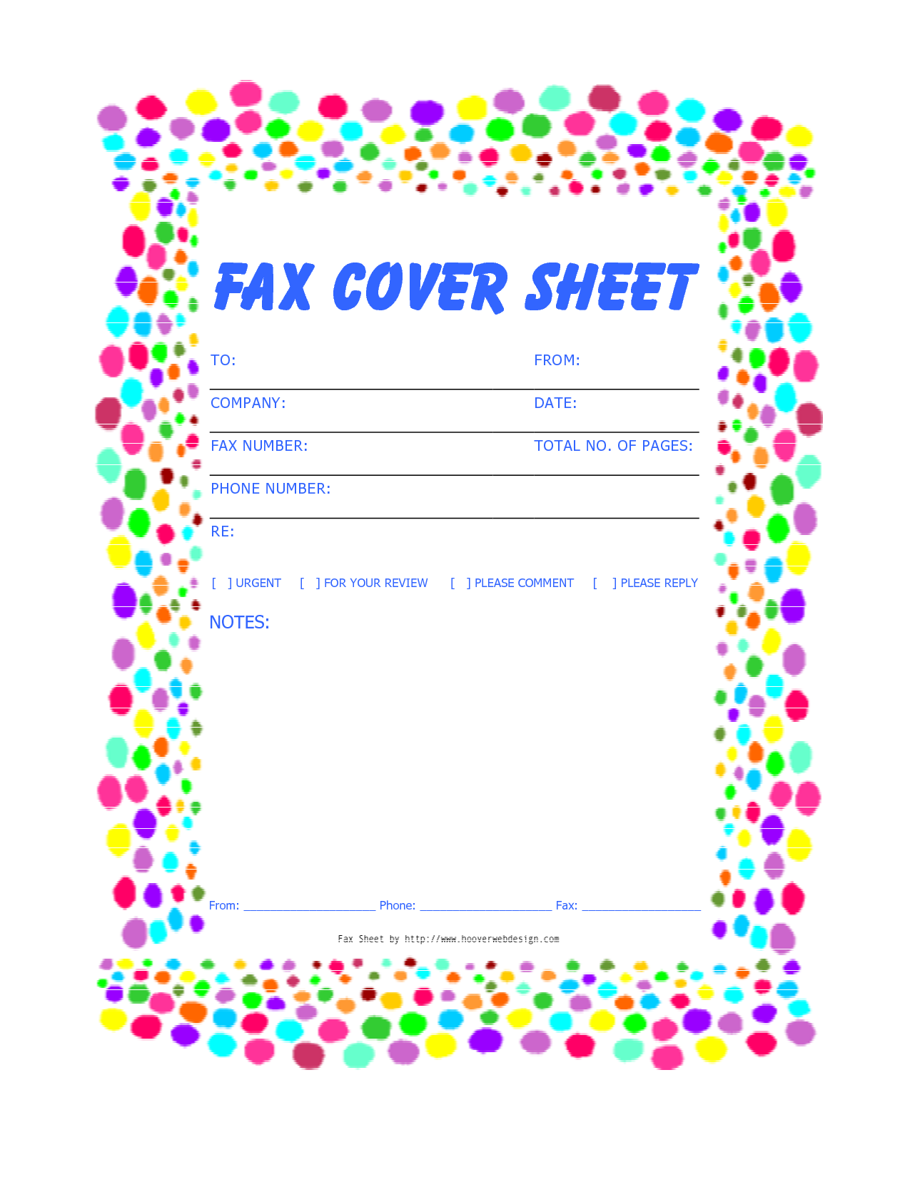 Fax Cover Sheet Blank Template