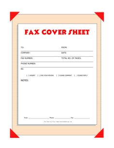fax cover template free