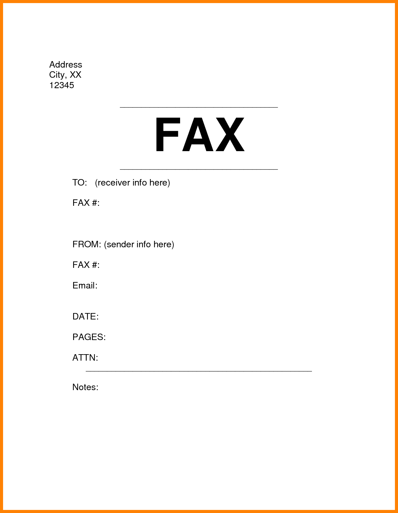 Fax Cover Sheet Template Blank