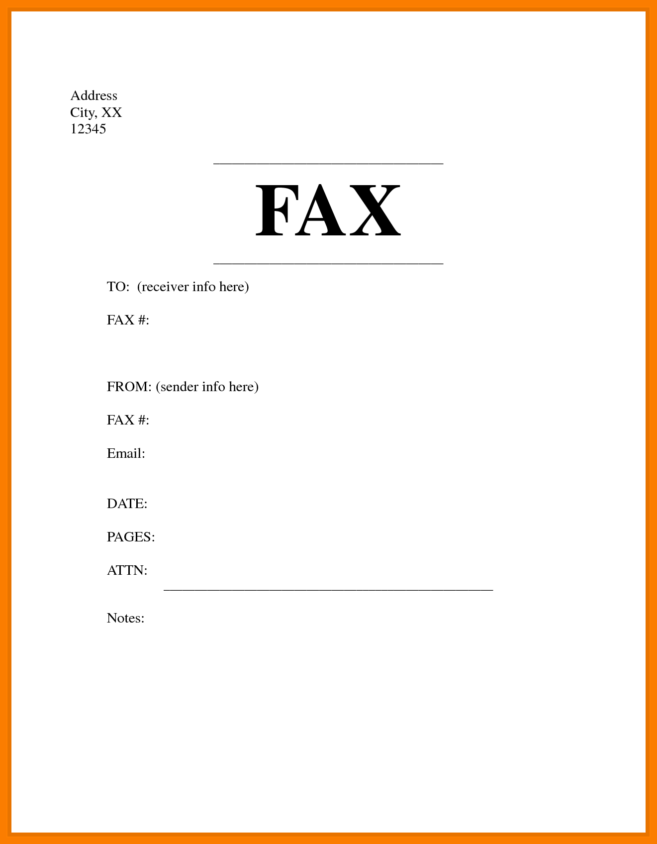Fax Cover Sheet Template Printable
