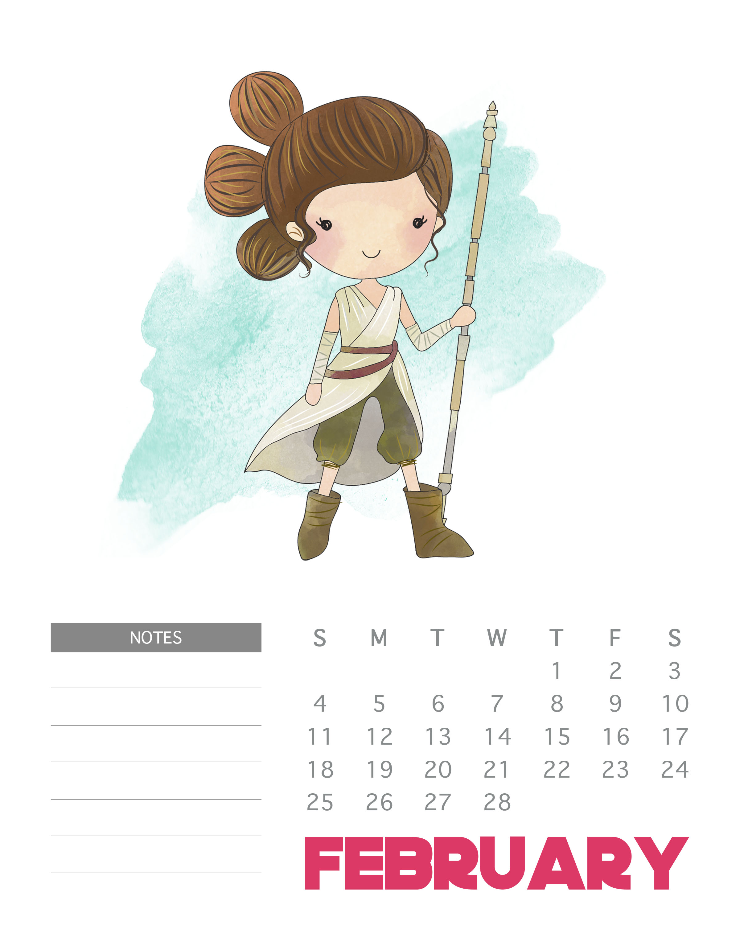 February 2018 Star Wars Calendar Template