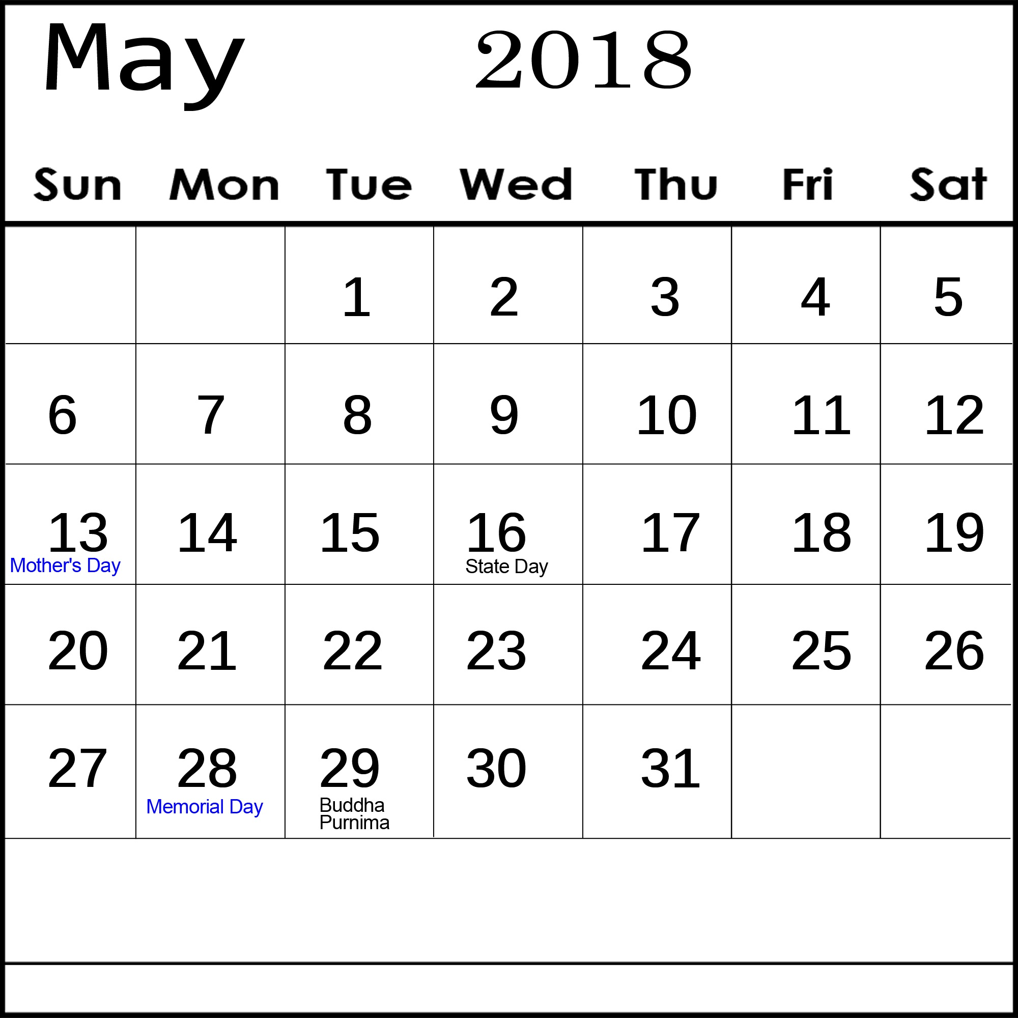 Fillable Calendar For May 2018