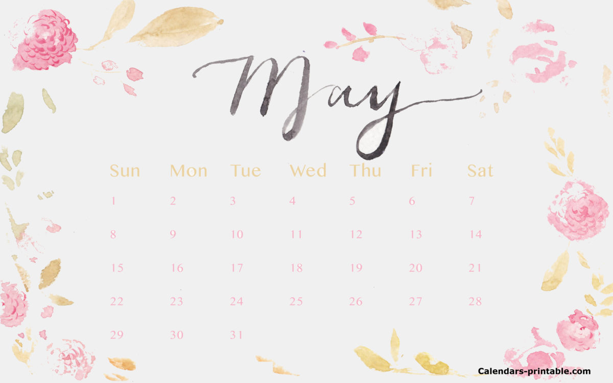 Floral May 2018 Calendar Template