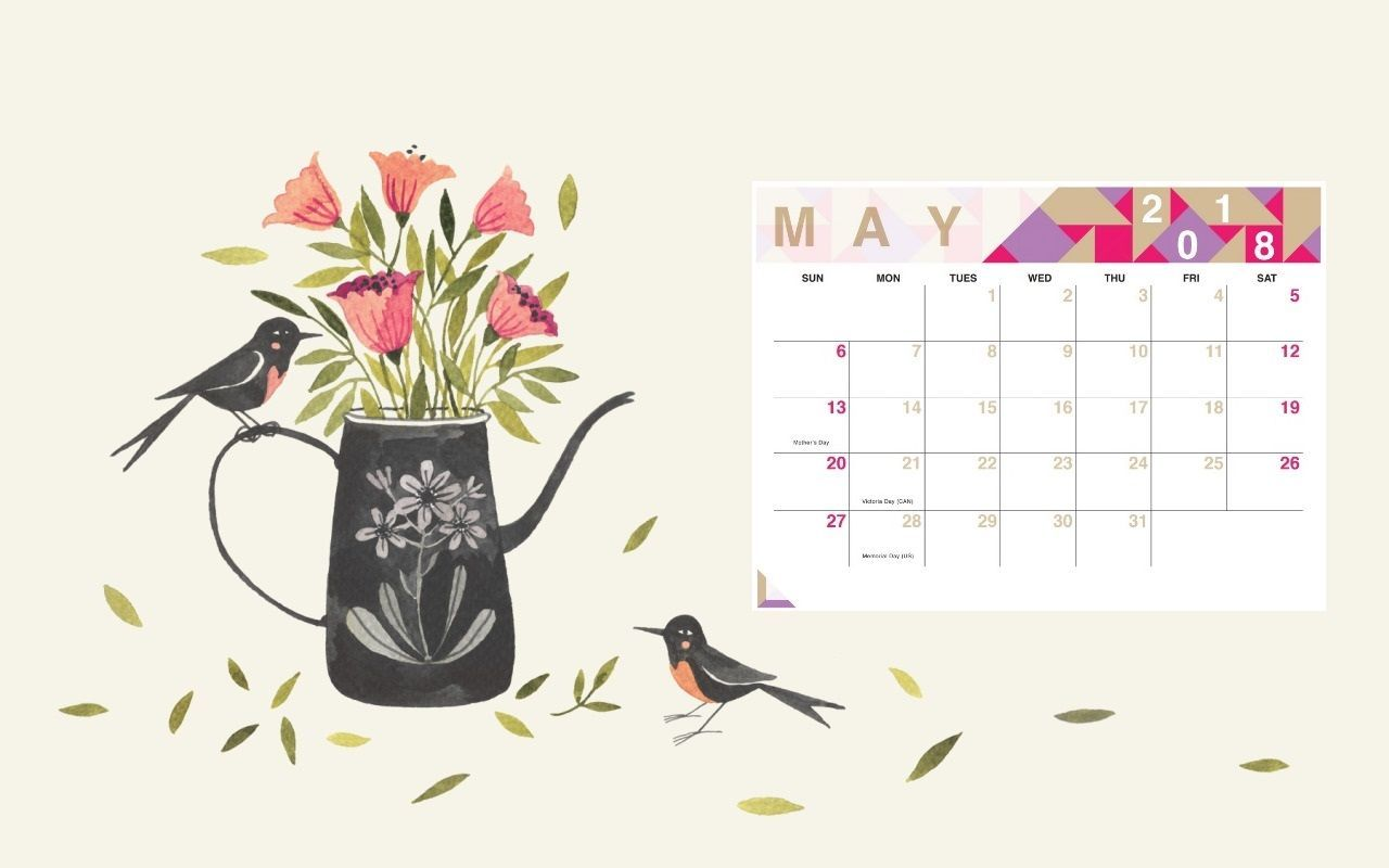 Floral May 2018 Calendar Wallpaper