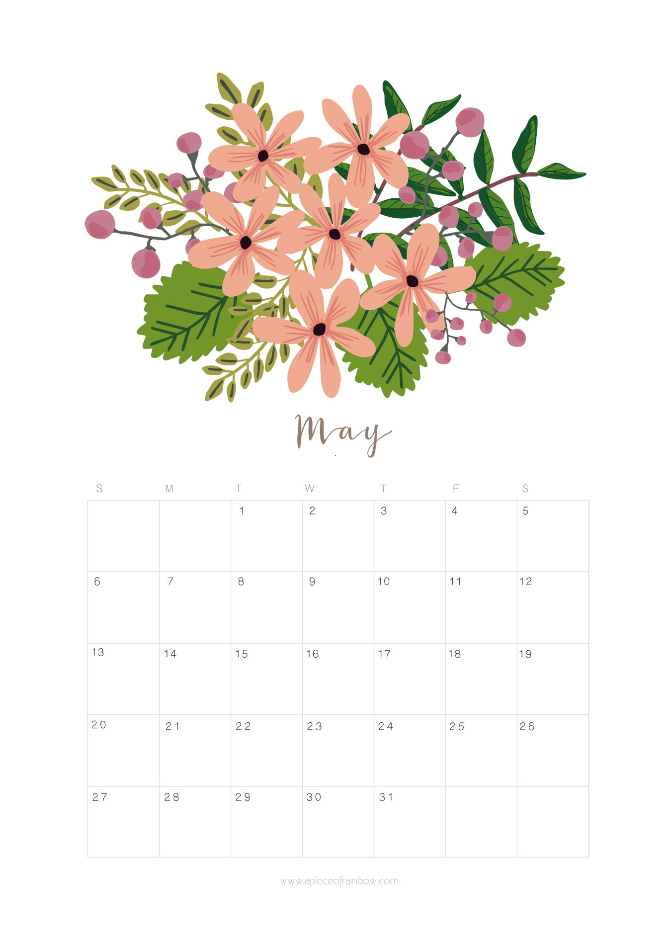 Floral May 2018 Calendar