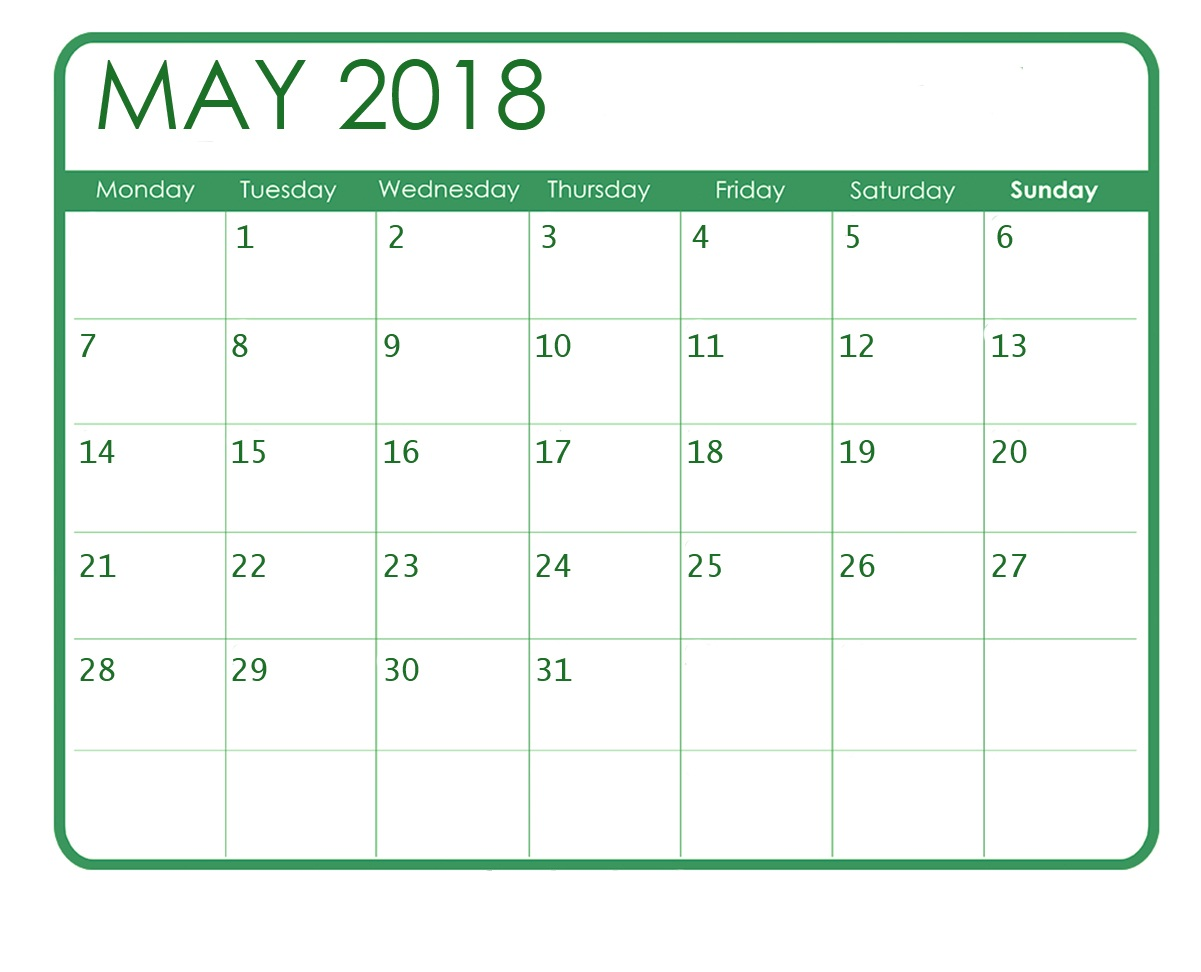 Free Calendar For May 2018