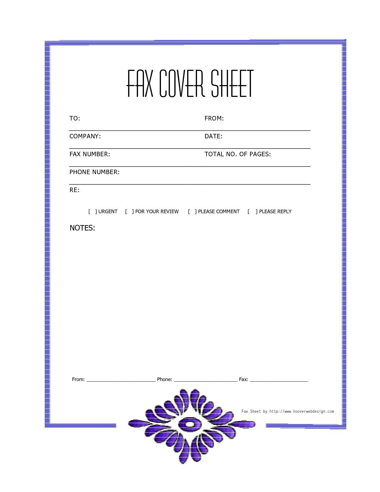 Free Printable Fax Cover Sheet Word