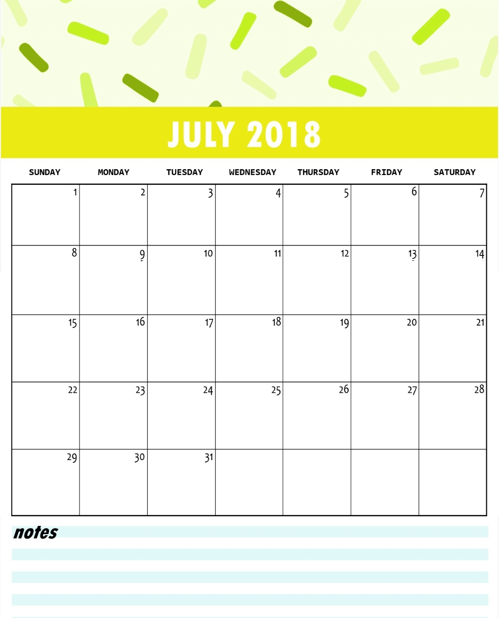 Free Printable July 2018 Template