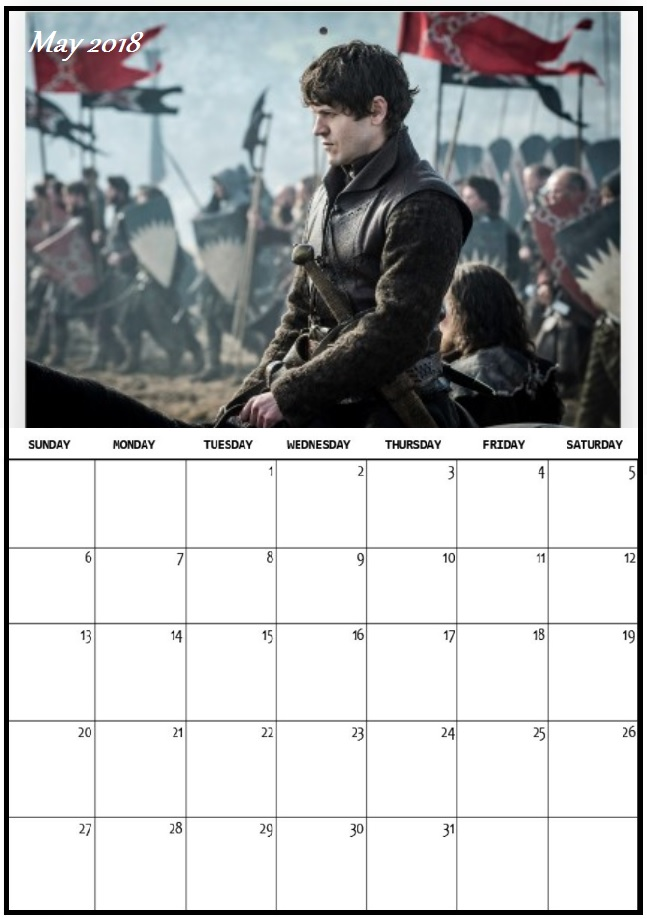 Game of Thrones May 2018 Wall Calendar