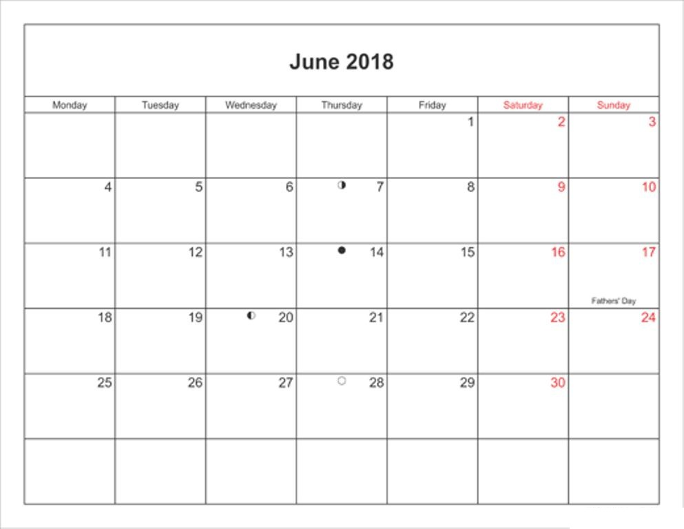 Holidays In June 2018 Calendar