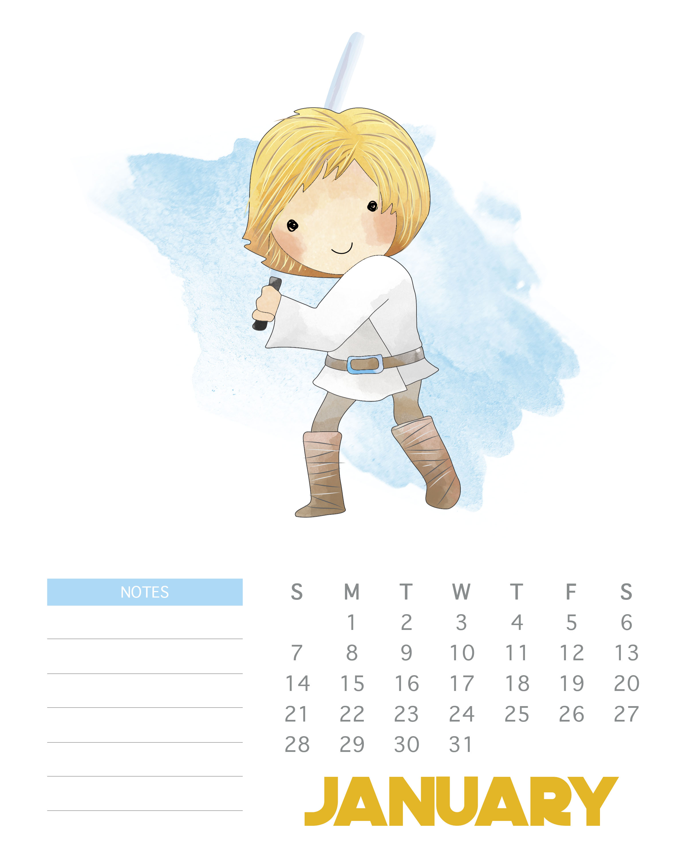 January 2018 Star Wars Calendar Template