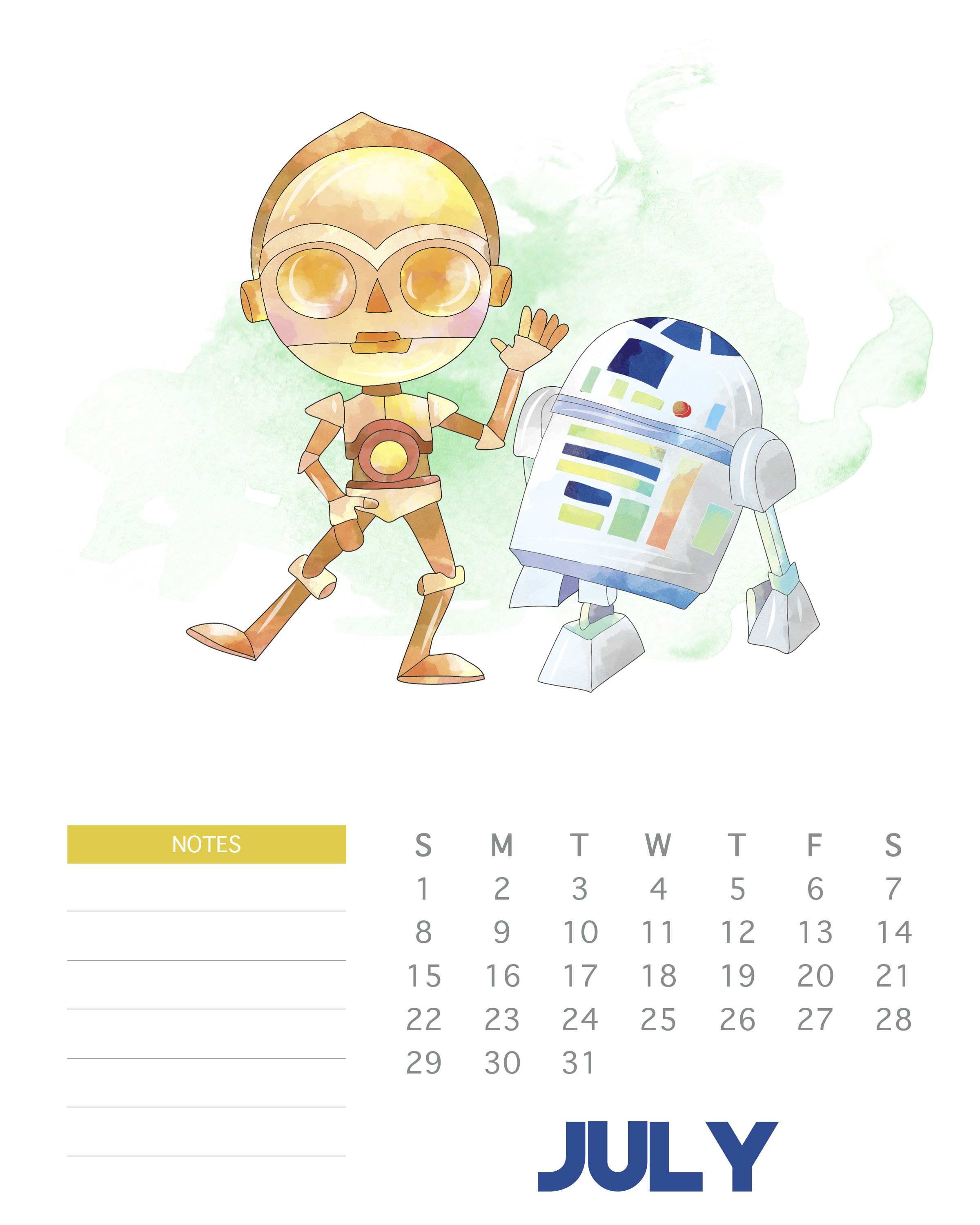 July 2018 Star Wars Calendar Template