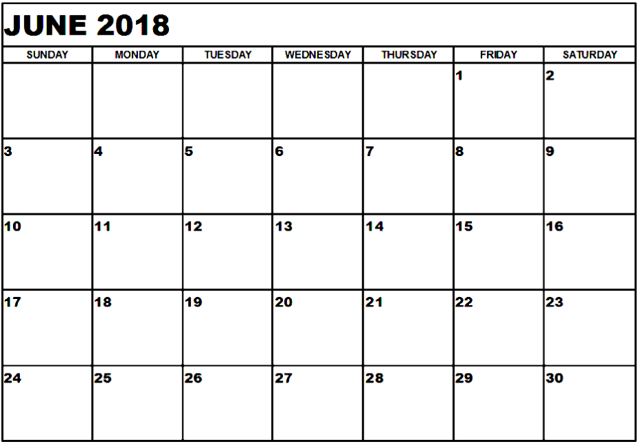 June 2018 Calendar In Printable Template