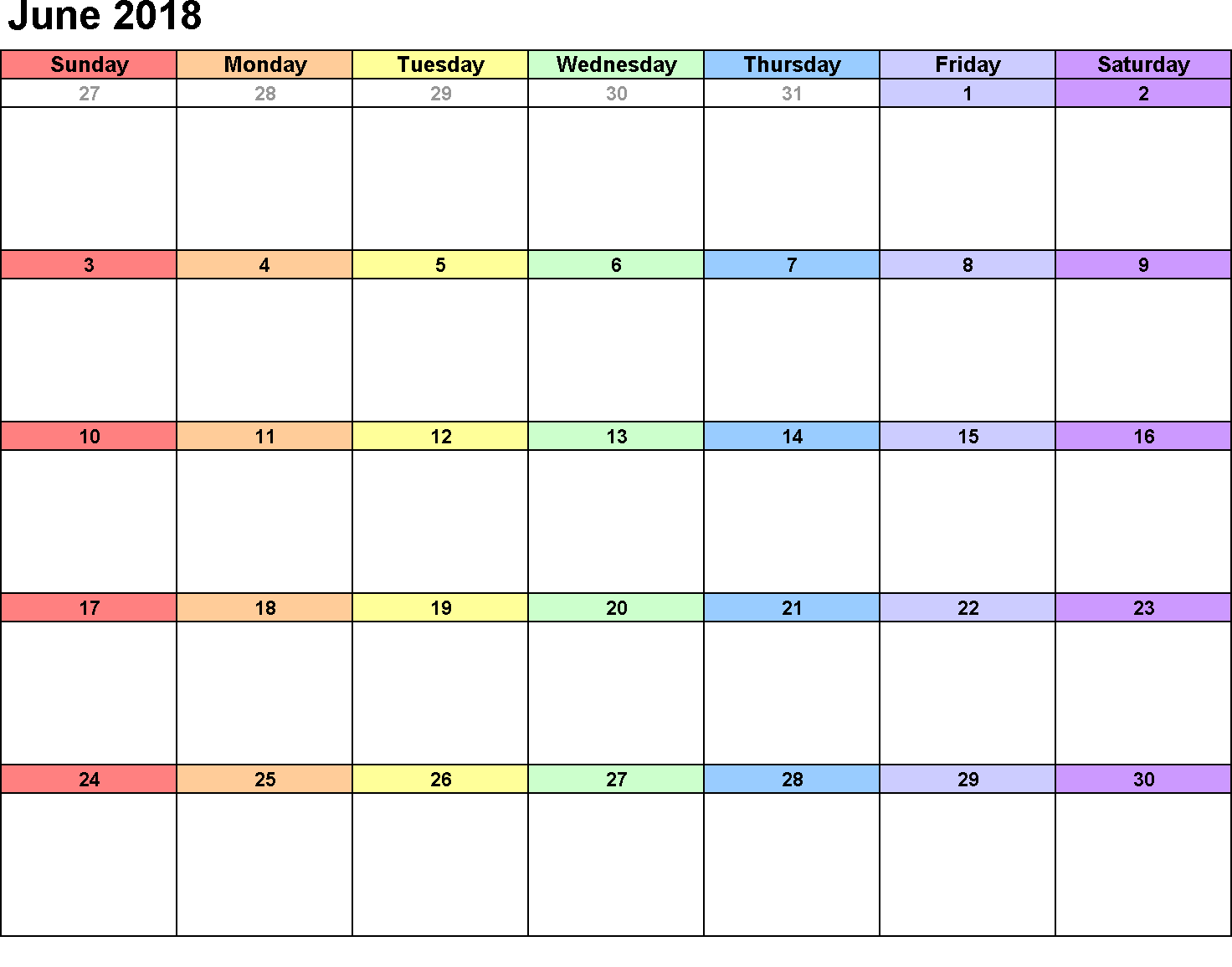 June 2018 Calendar Template Colorful Idea