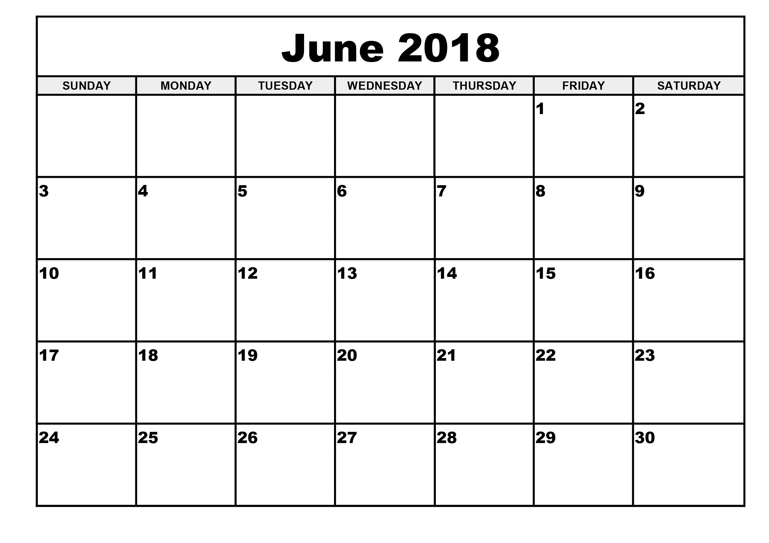 June 2018 Calendar Template Creative Design