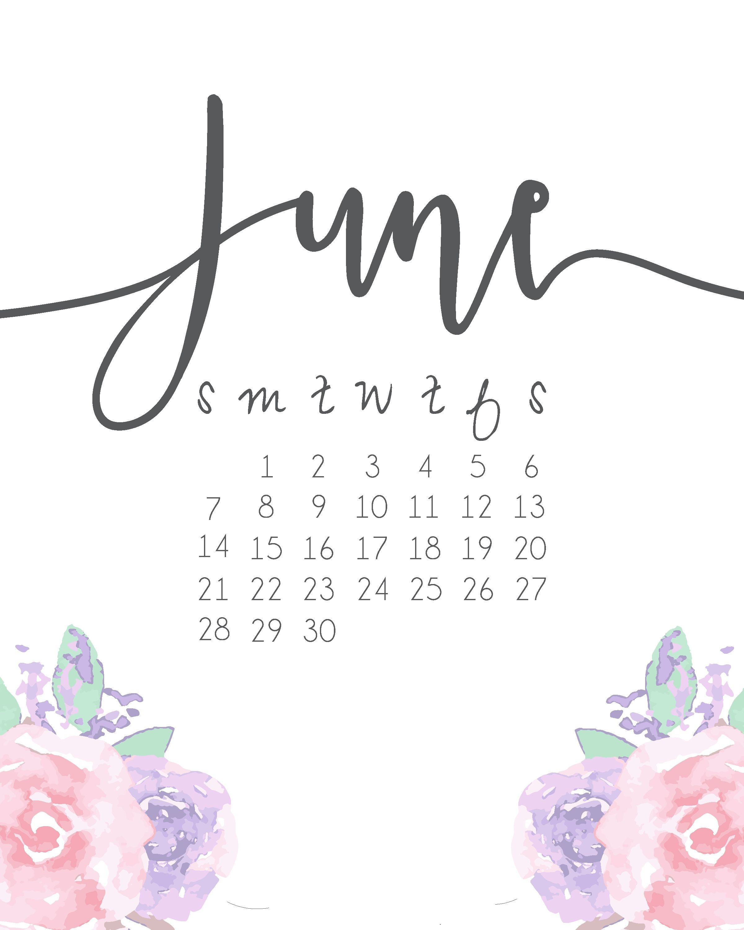 June 2018 Calendar Template Cute Floral