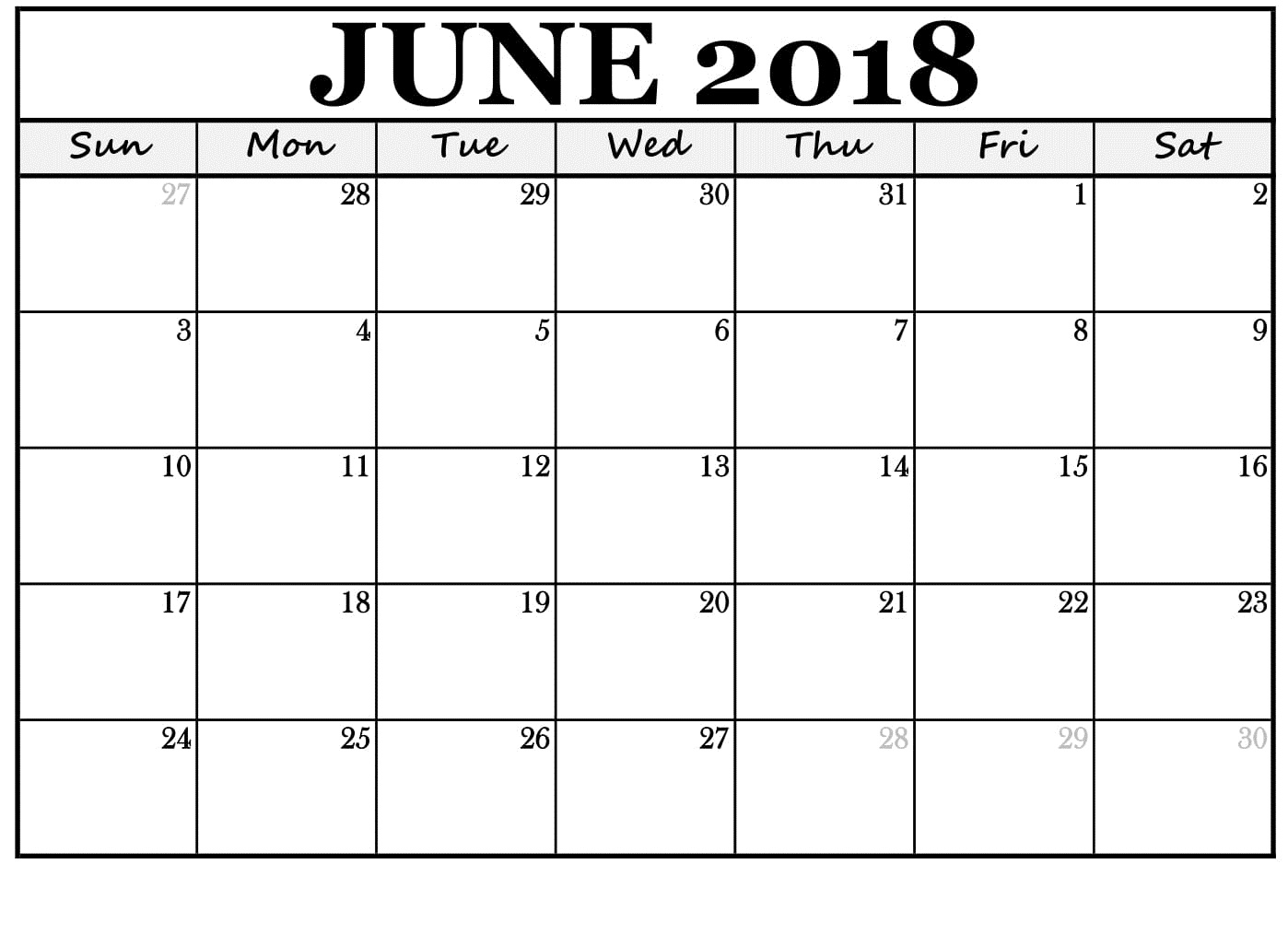June 2018 Calendar Template Desk Table