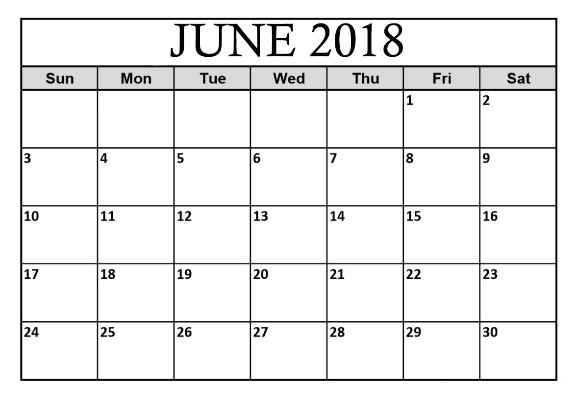 June 2018 Calendar Template Editable Word