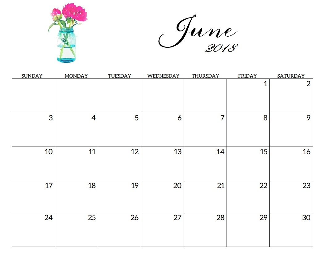 June 2018 Calendar Template Floral Title