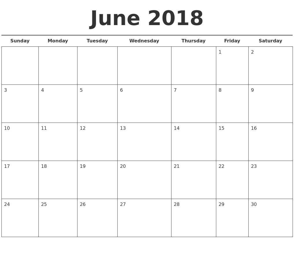 June 2018 Calendar Template Hd Download