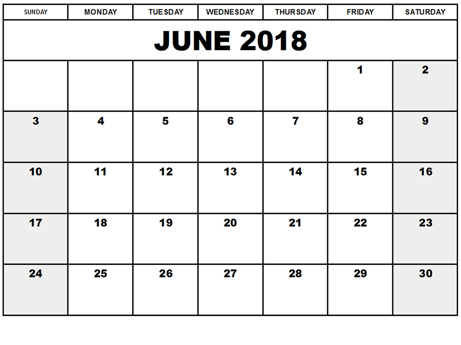June 2018 Calendar Template Printable Format