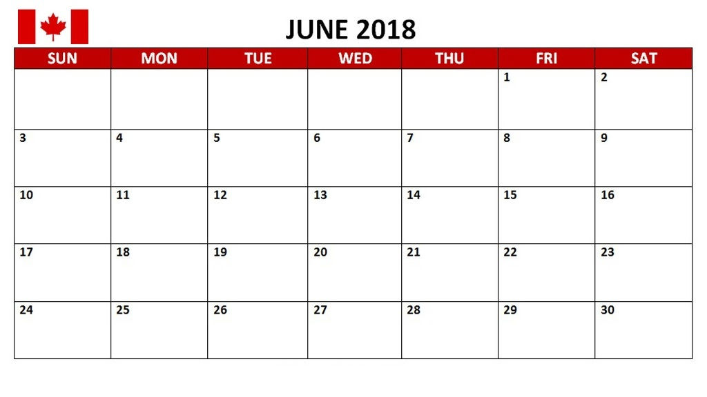 June 2018 Calendar With Holidays Canada