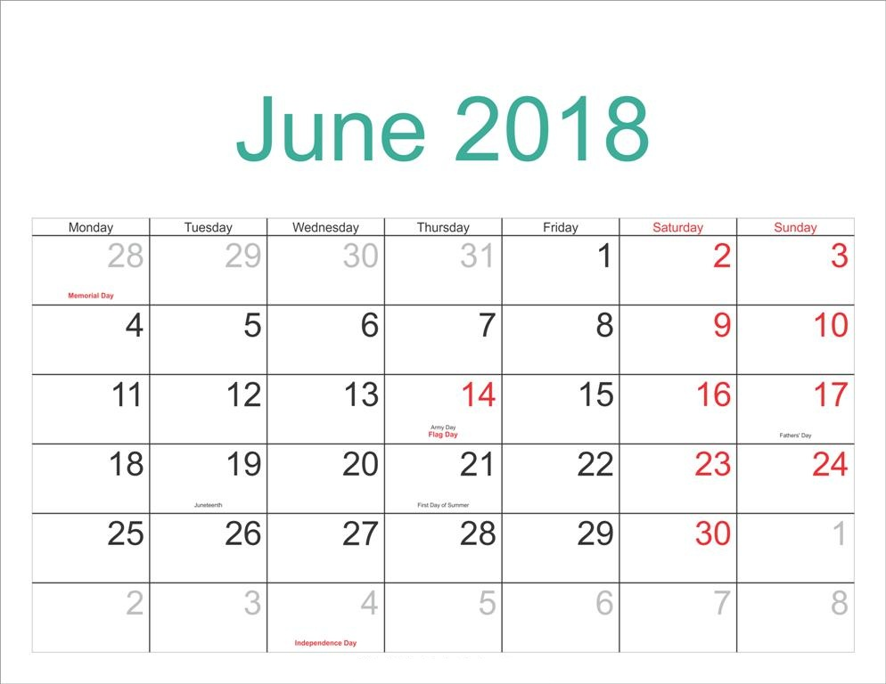 June 2018 Calendar With Holidays Dates