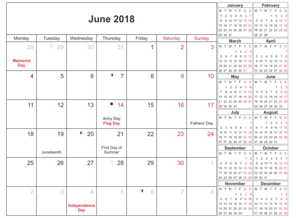 June 2018 Calendar With Holidays For Office