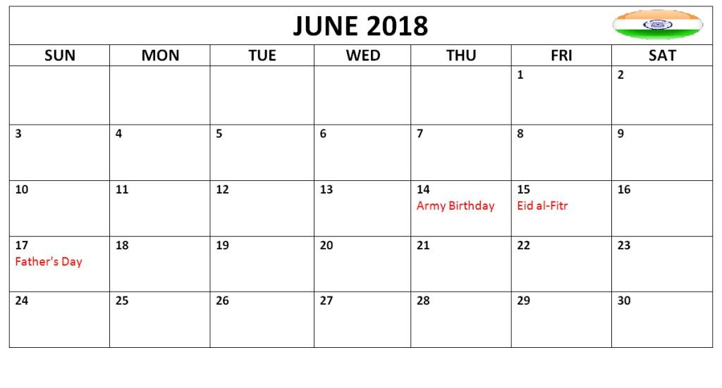 June 2018 Calendar With Holidays India