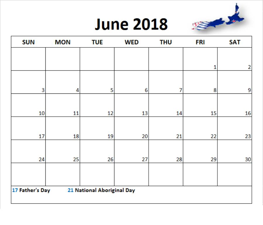 June 2018 Calendar With Holidays Nz