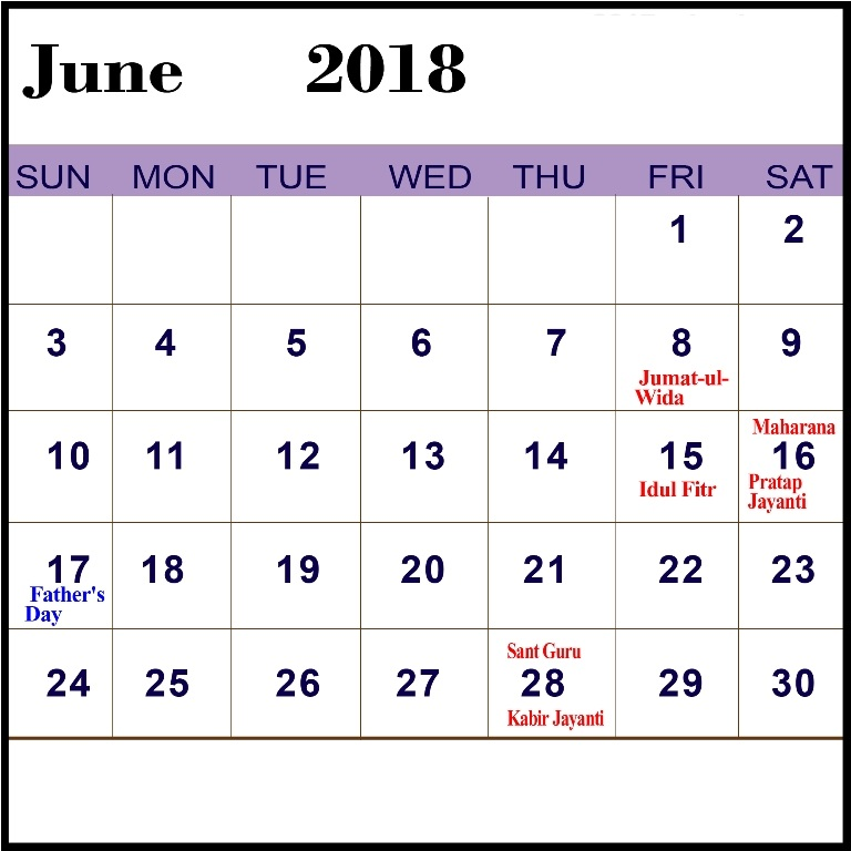 June 2018 Calendar With Holidays Printable
