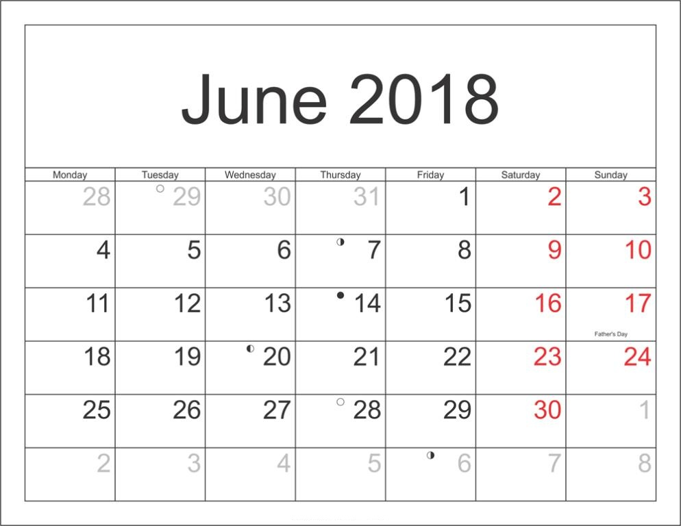 June 2018 Calendar With Holidays Templ