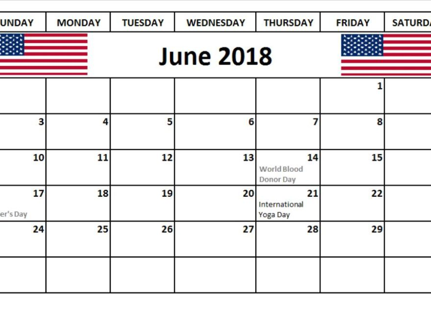 June 2018 Calendar With With Holidays USA