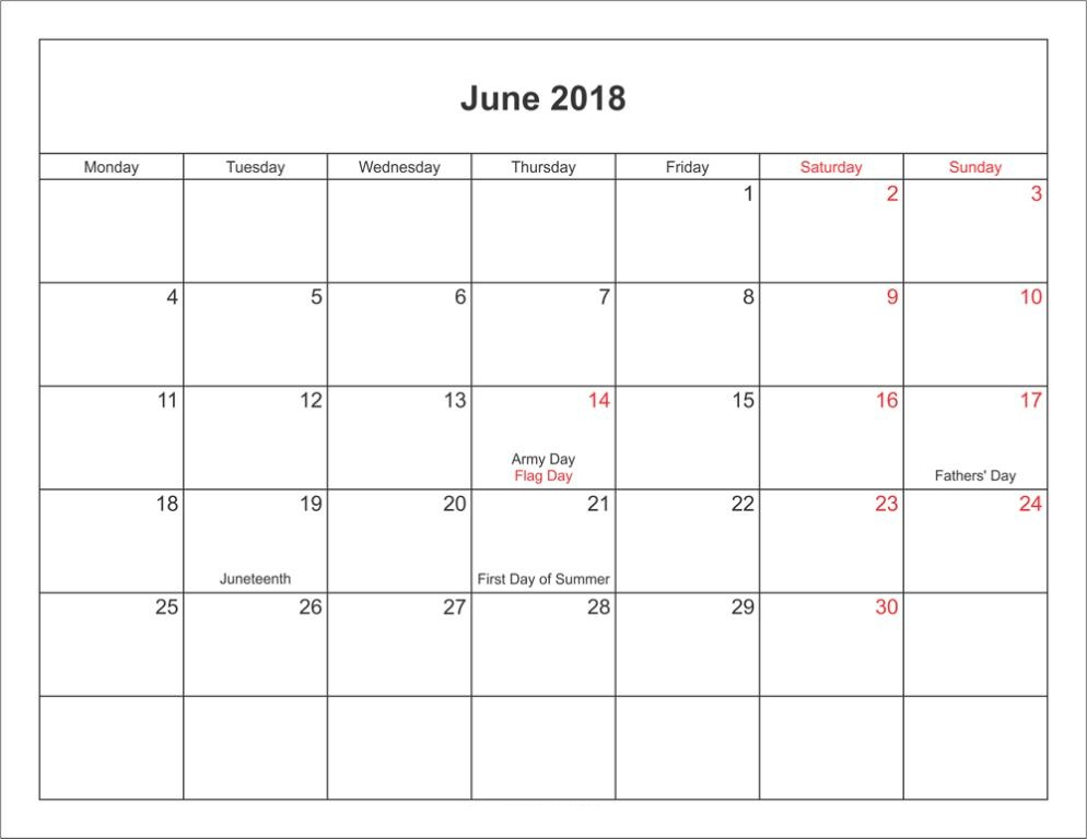 June 2018 Calendar With Holidays and Festivals