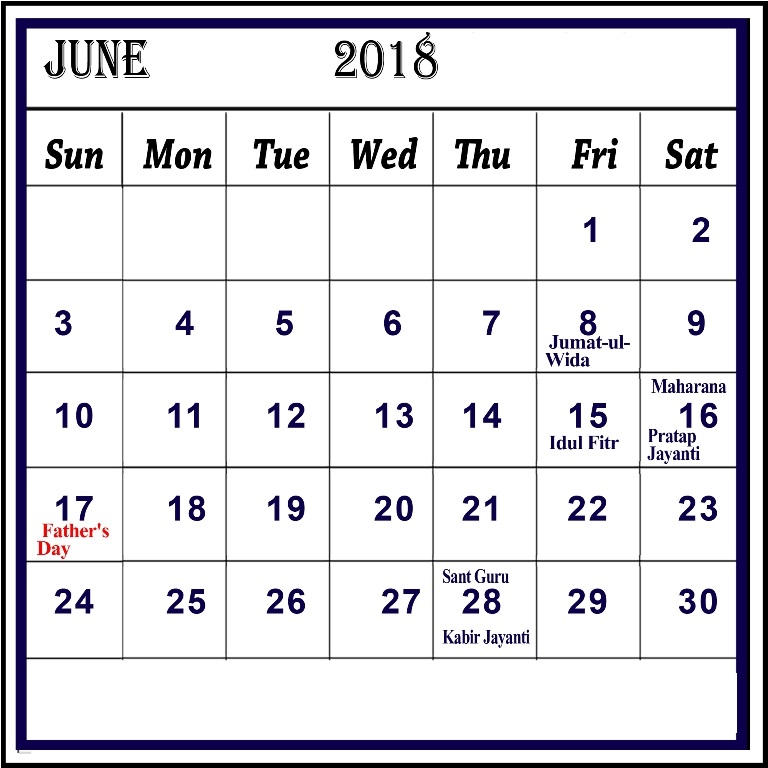 June 2018 Calendar With Indian Holidays