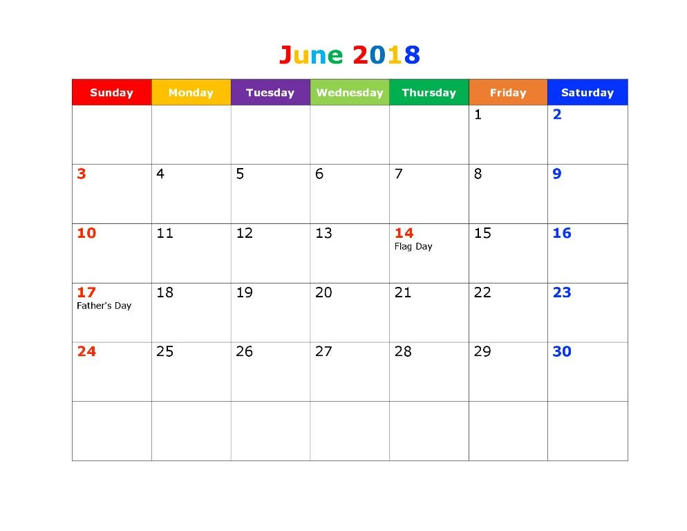 June 2018 Calendar With School Holidays