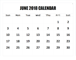 June 2018 Calendar Word Template Wall