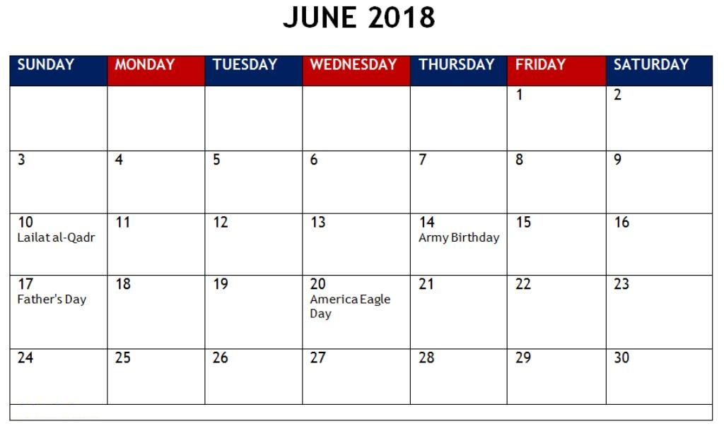 June Calendar 2018 With Holidays