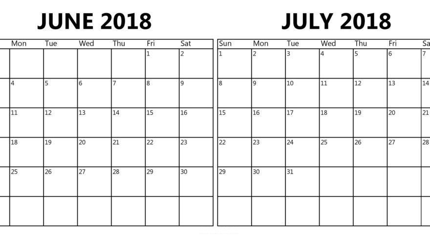 June July 2018 Calendar Printable Pdf Free Template