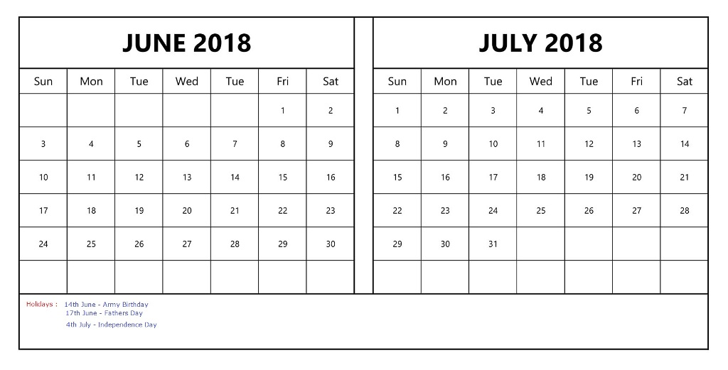 June July 2018 Calendar With Holidays