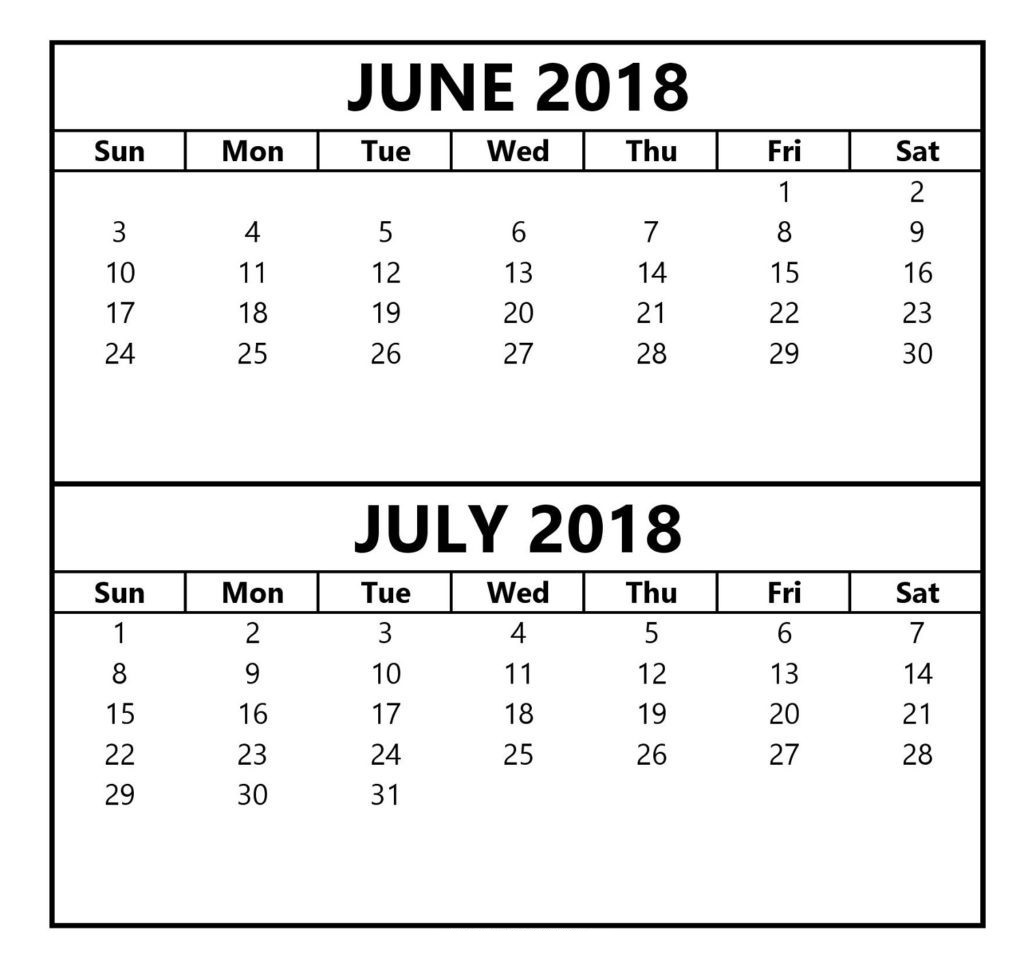 June July 2018 Calendar Word Excel Template