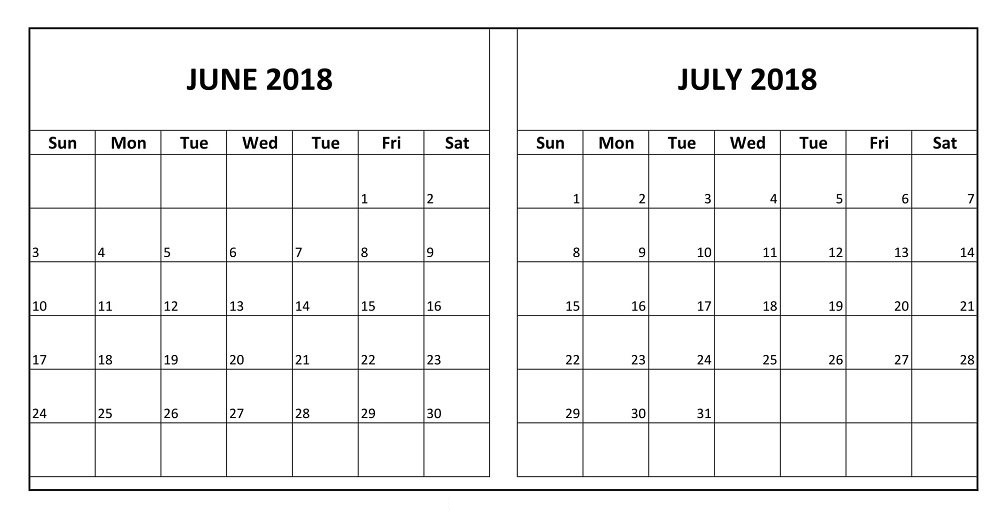 June July 2018 Free Two Month Printable Calendar