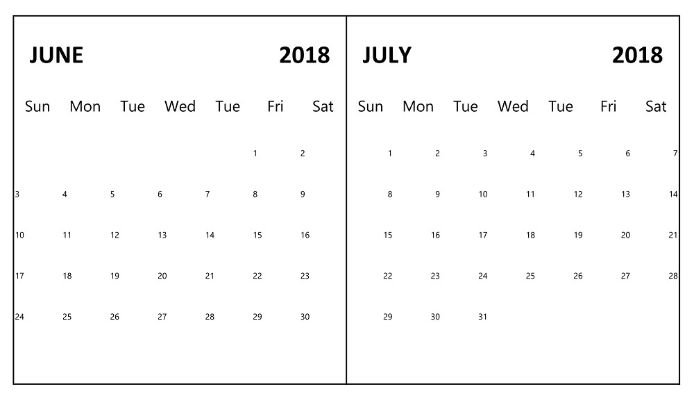 June July 2018 Printable Calendar Summer