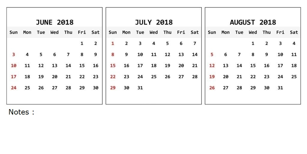 June Calendar 2018 Printable Free Monthly Template