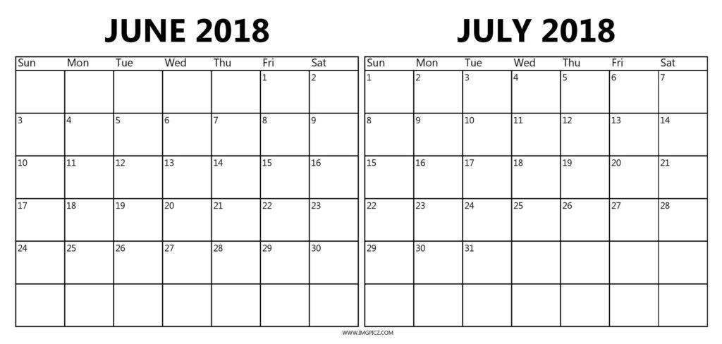June And July 2018 Calendar Printable Template