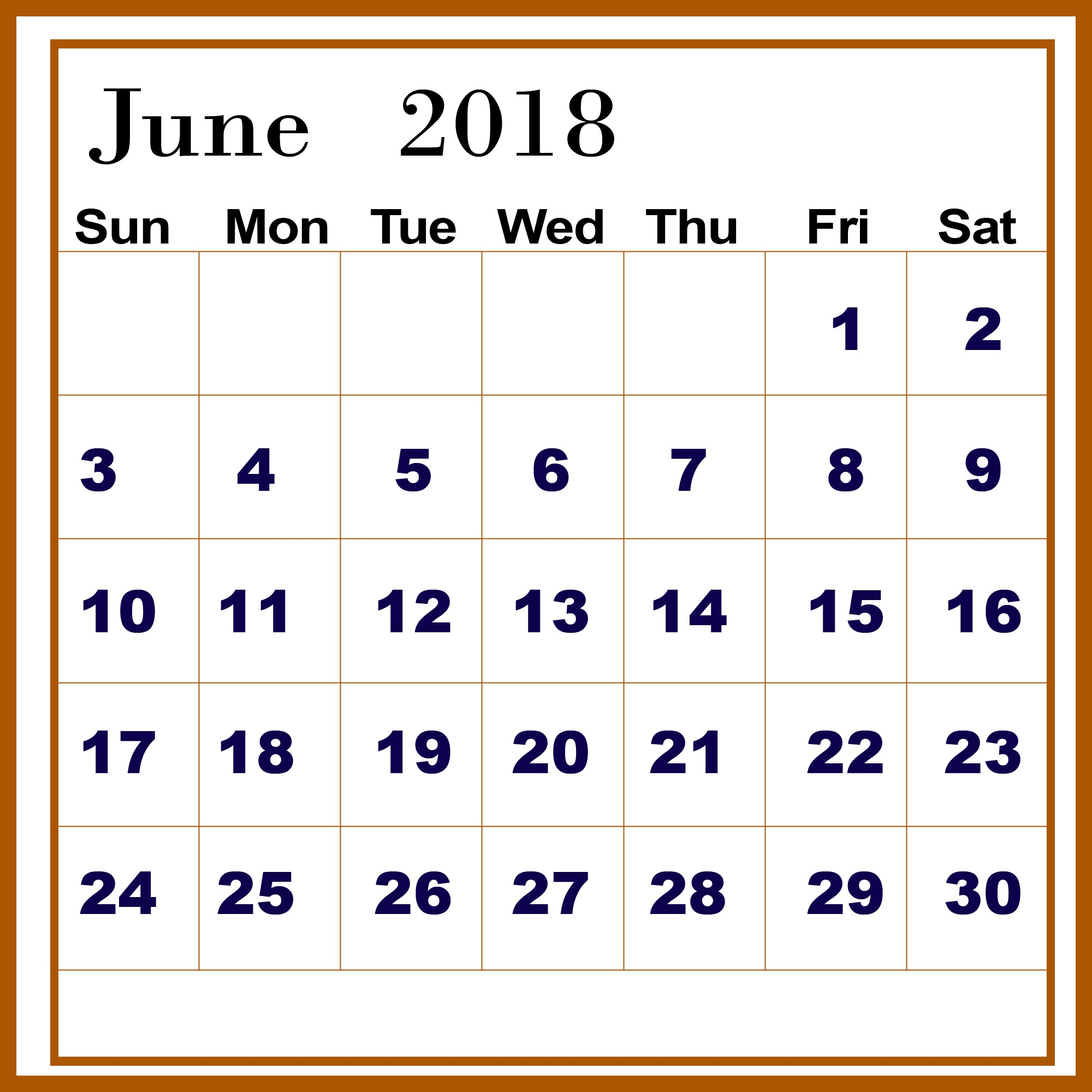 Latest June 2018 Calendar Template Large Number
