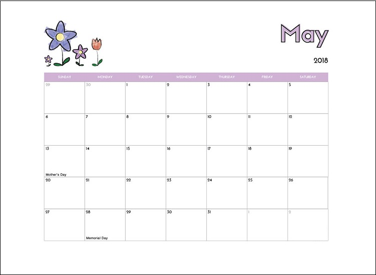 May 2018 Blank Calendar For Kids
