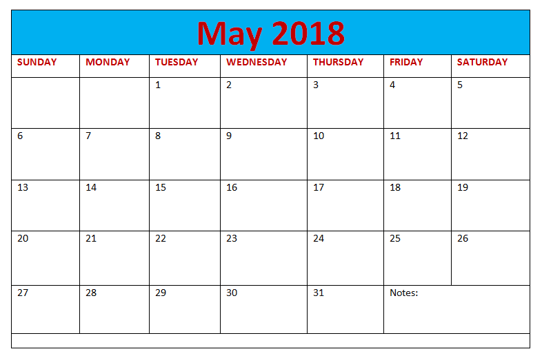 May 2018 Blank Calendar Monthly