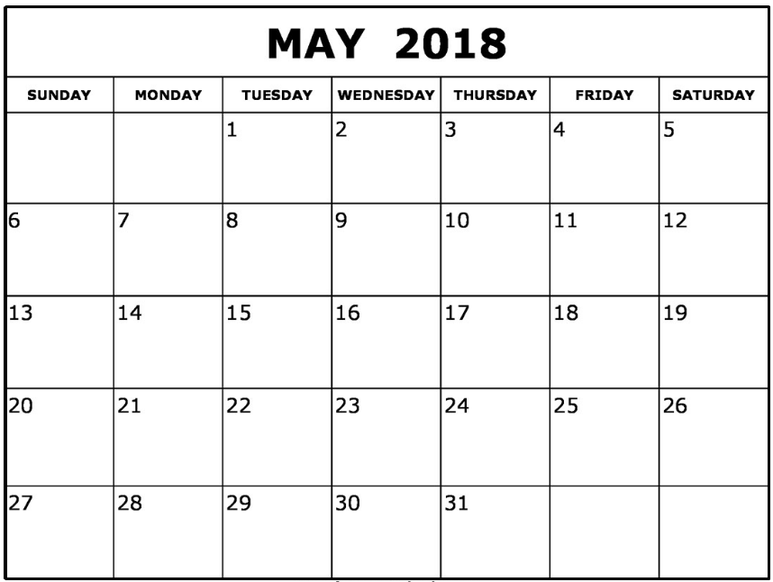 May 2018 Blank Calendar Printable PDF Free Template